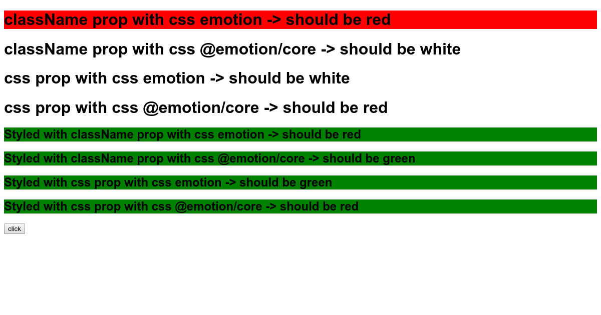 css emotion test with Component App @babel/plugin-transform-react