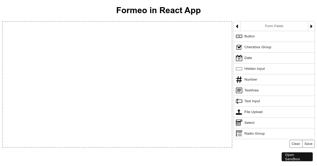 Formeo React - CodeSandbox