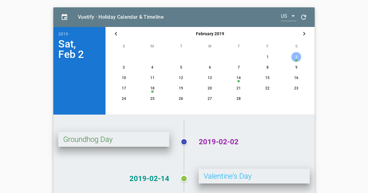 Vuetify Holiday Calendar + Timeline - CodeSandbox