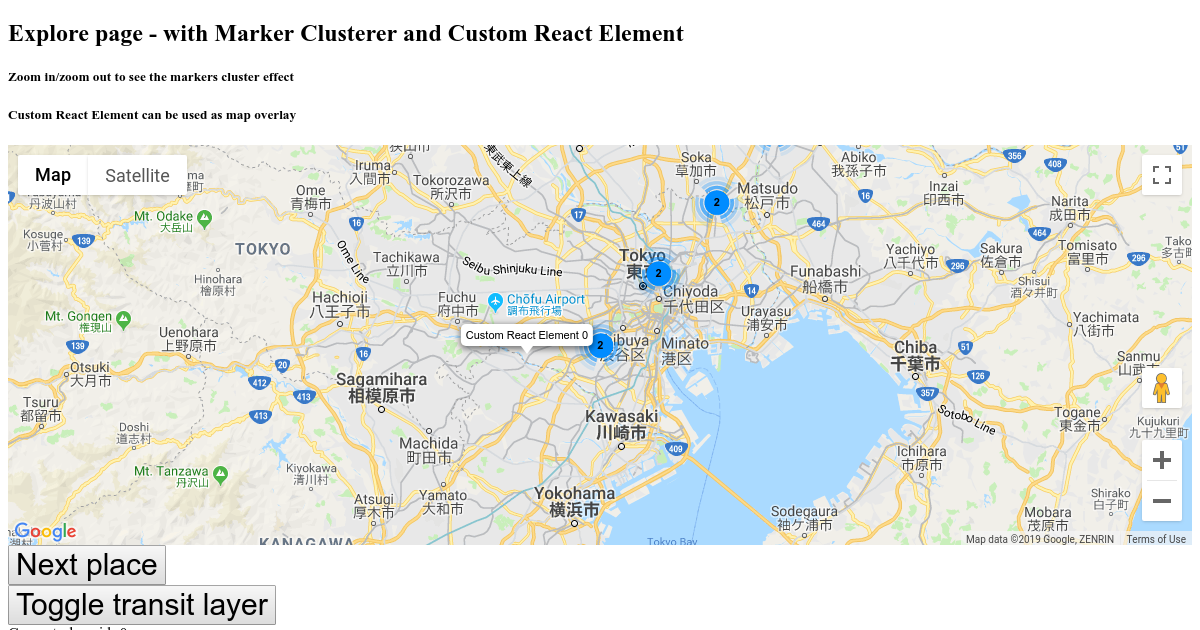google maps - custom elements and markers cluster - CodeSandbox
