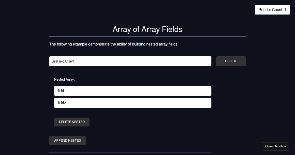 React Hook Form - useFieldArray nested arrays